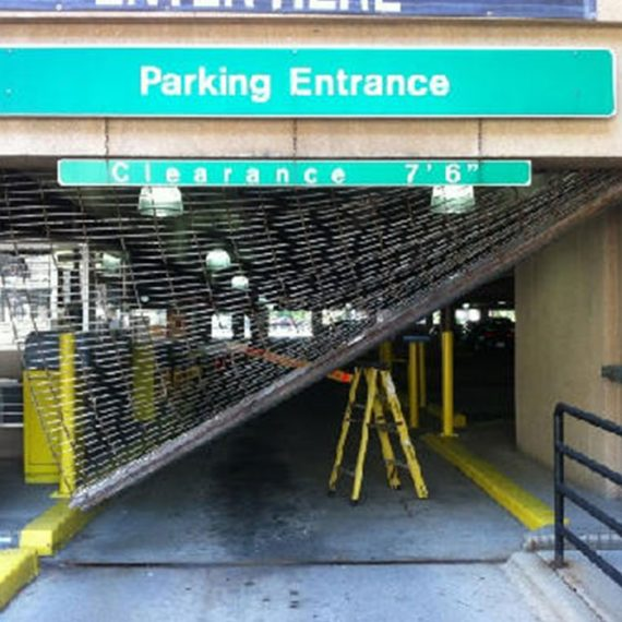 Commercial Door Repair | Central Parking Before Photo